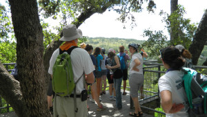 Overlooking the Pedernales River with our guide from Westcave Discovery Center.